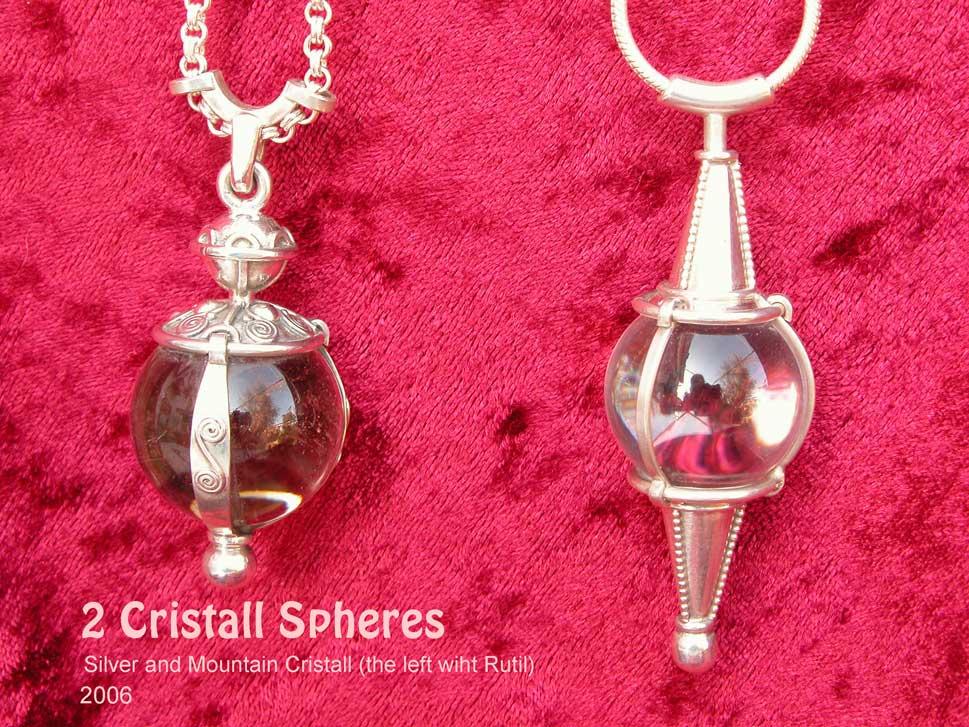 Kristallkugel unikatschmuck Bergkristallkugel Silberunikat