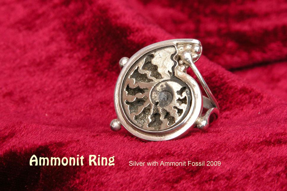 unikatring silber ammonit fossil designerring