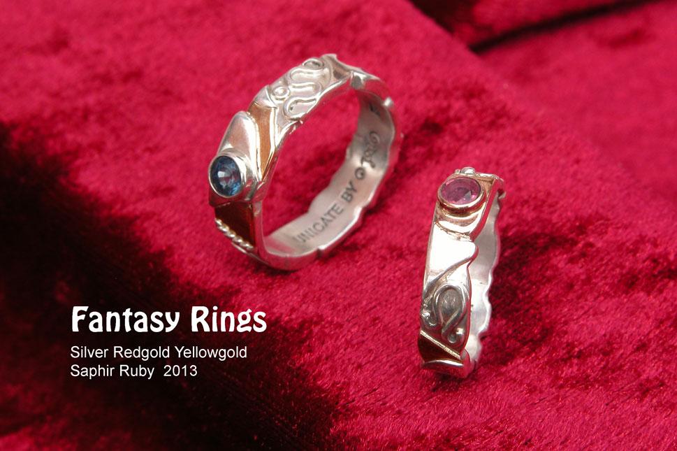 unikatring silber gold fantasie rubin saphir designerring