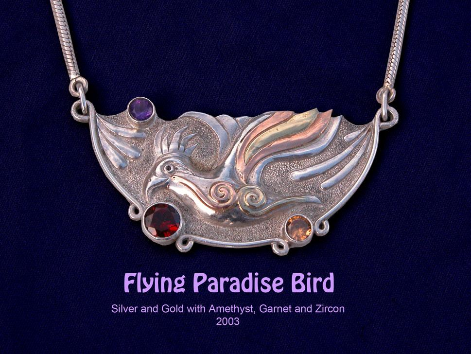 unikatschmuck silber gold paradiesvogel