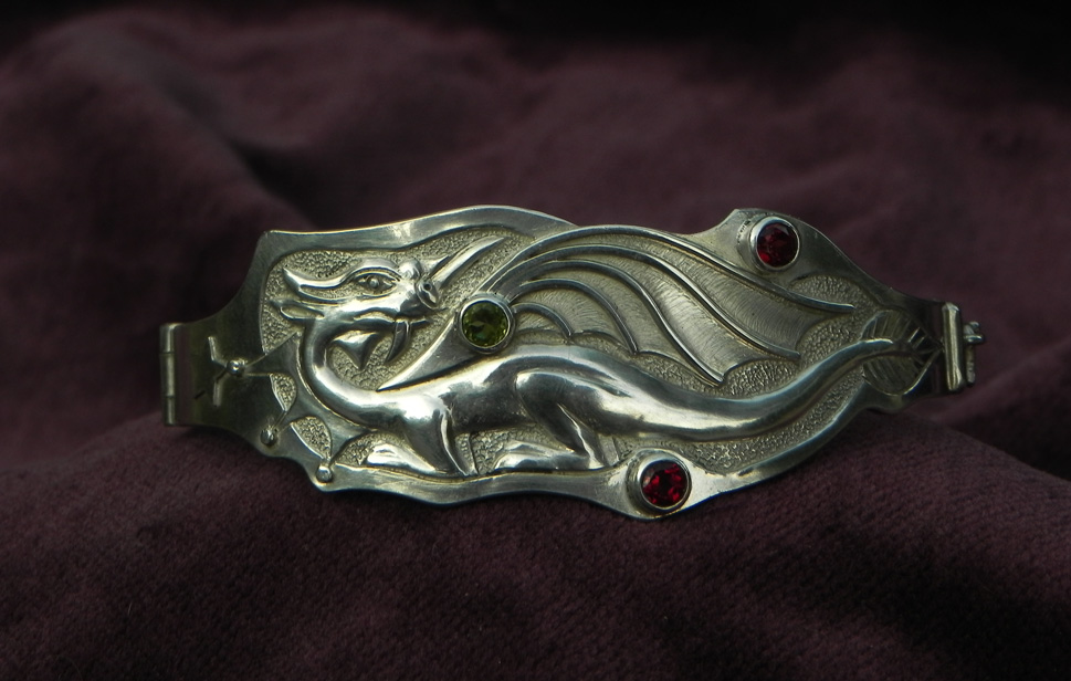 Silver bracelet with Dragon and Gemstones