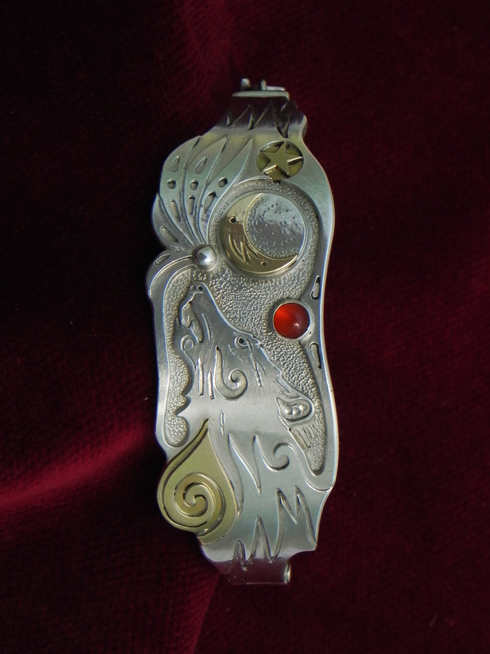 Silver bracelet with howling Wolf and moon