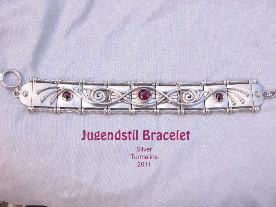 unikatschmuck armband silber gold turmalin designschmuck jugendstil
