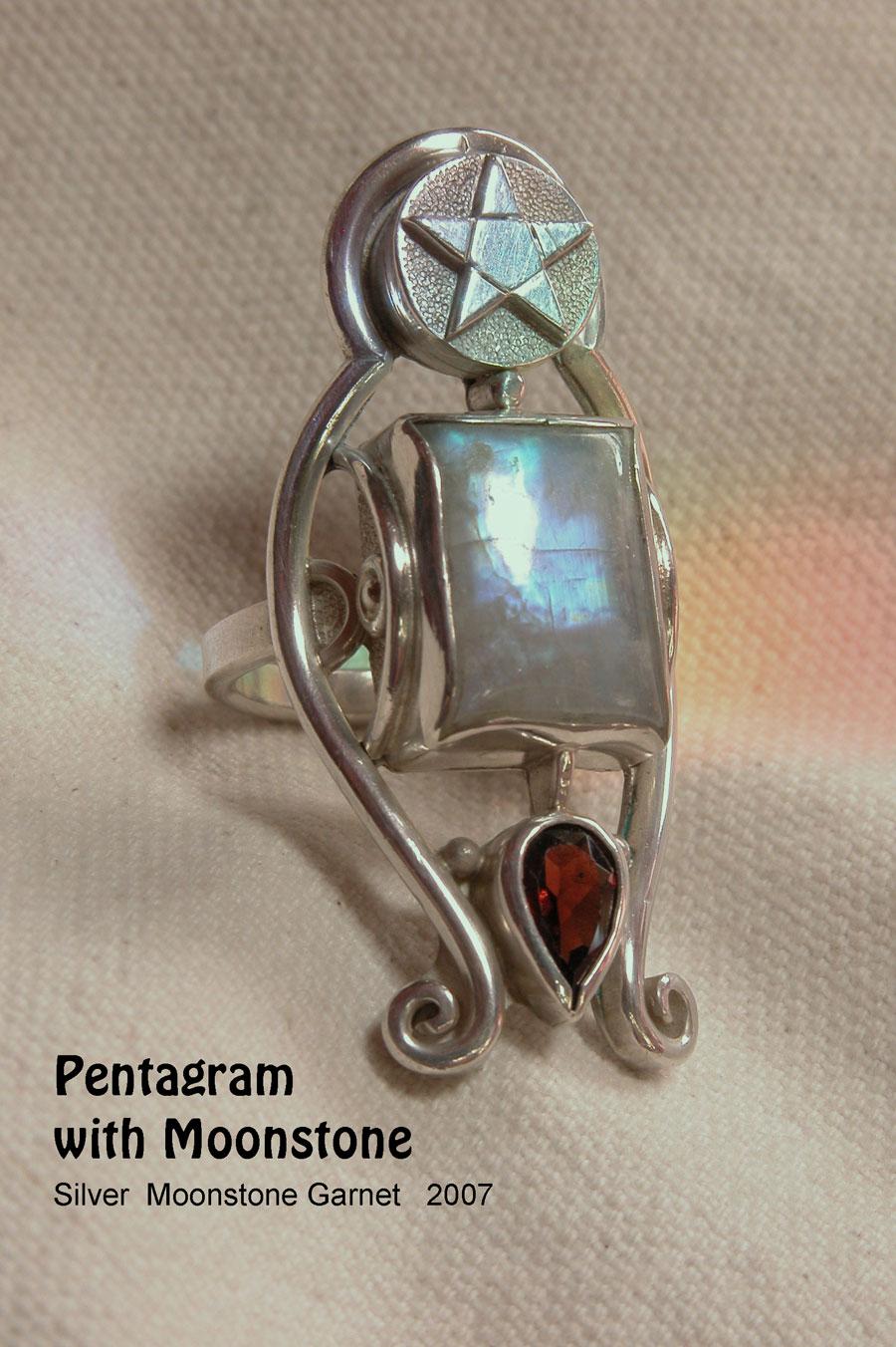 unikatring silber gold pentagram mondstein granat designerring