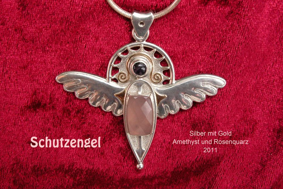 unikatschmuck silber gold schutzengel spiritueller schmuck rosenquarz