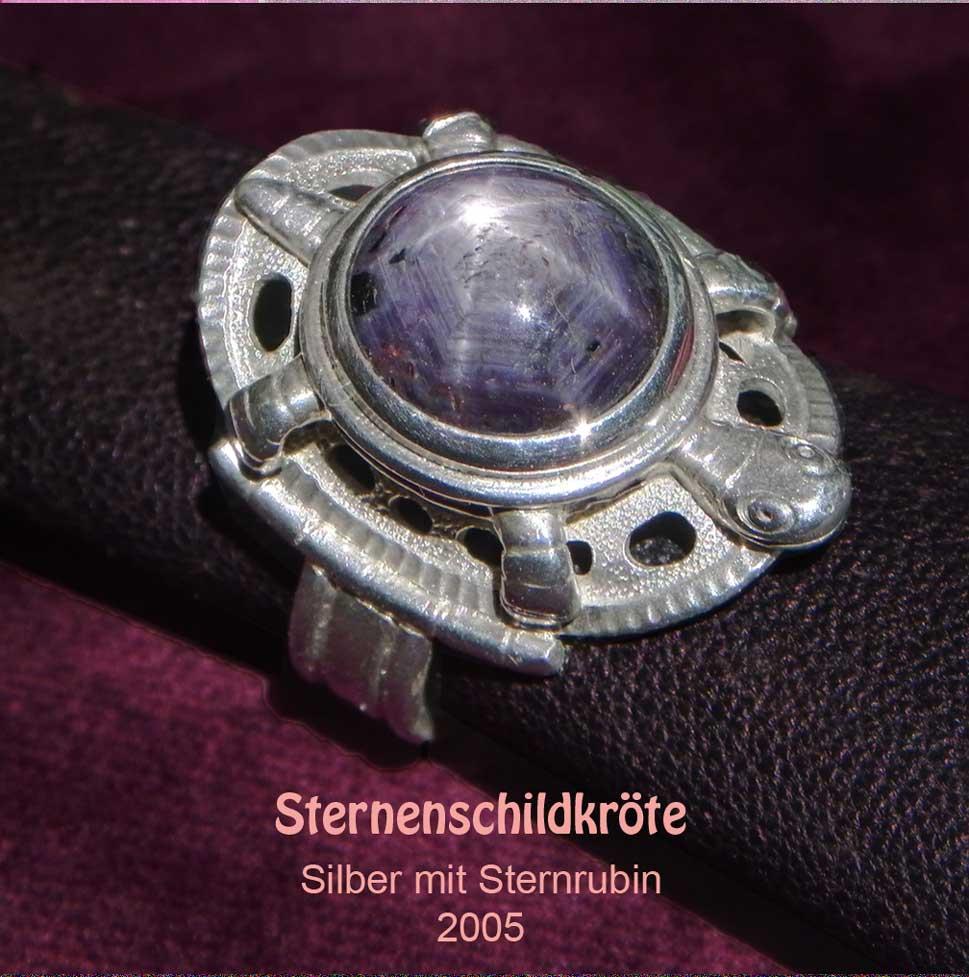 unikatring silber schildkröte sternsaphir