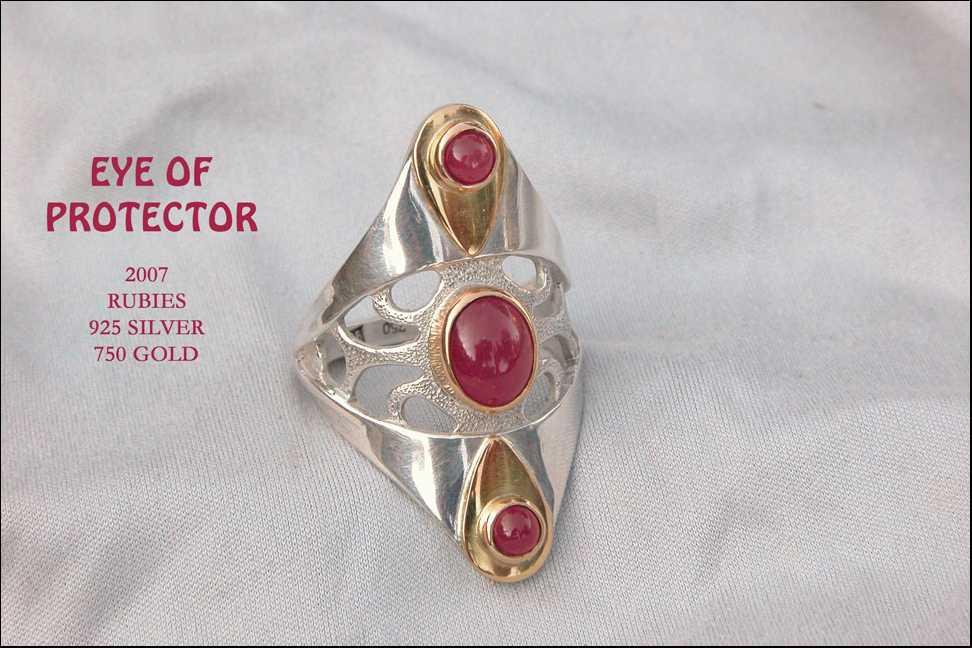 unikatring silber gold rubin