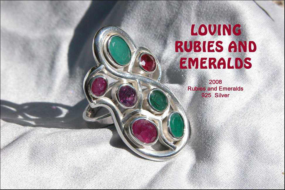 unikatring silber rubin smaragd