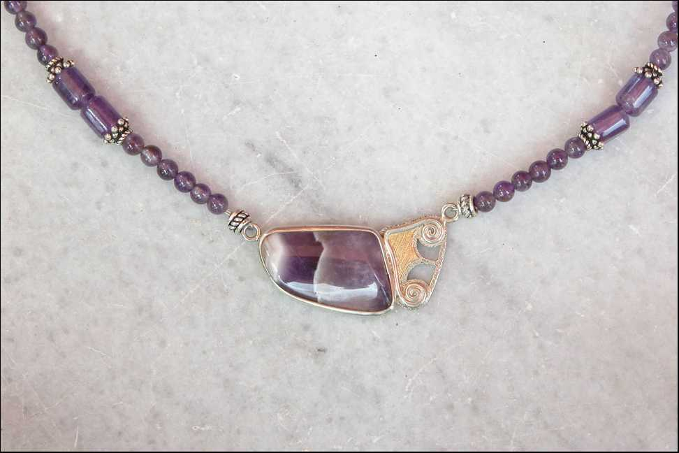 unikatschmuck designerschmuck edelsteinkette amethyst silber