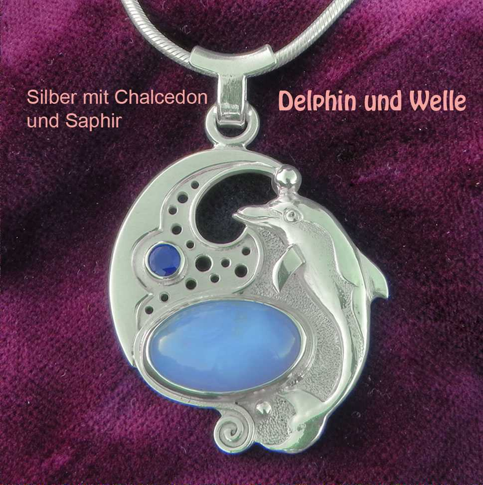 unikatschmuck delphin safir chalcedon