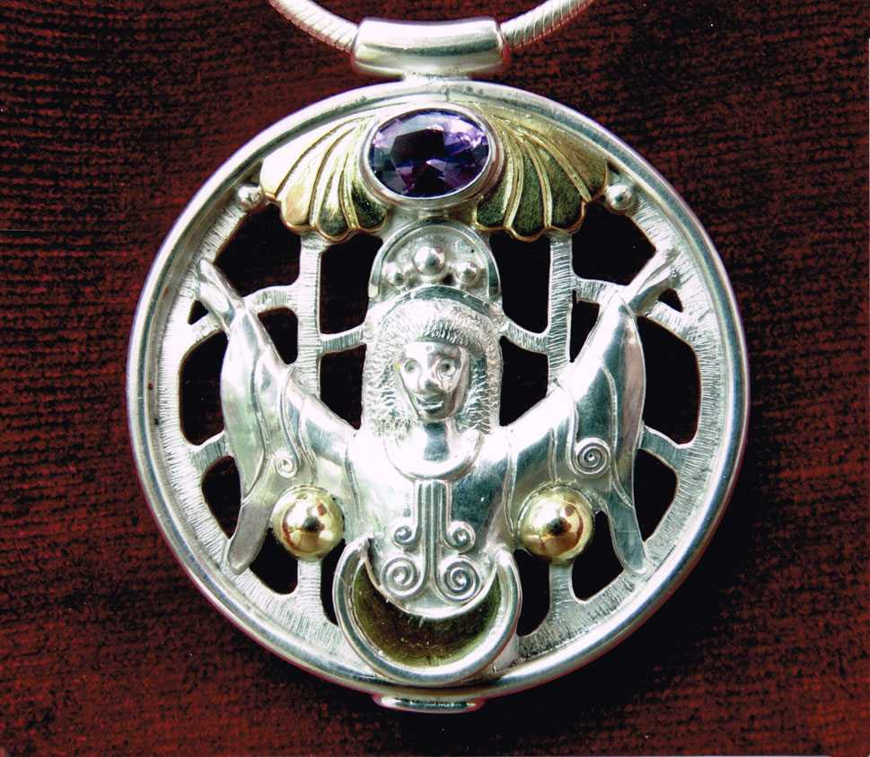unikatschmuck silber gold kettenanhänger spiritueller schmuck amethyst