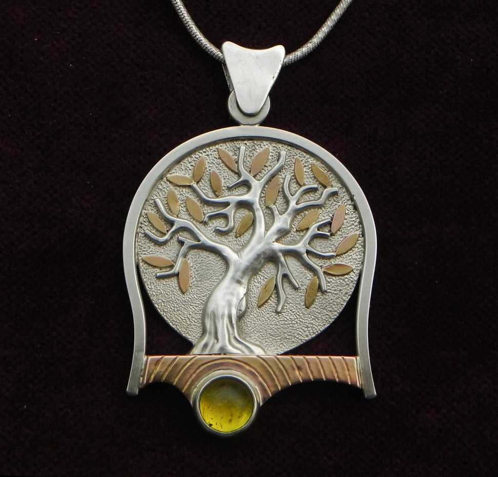 Olive trees on silver pendant