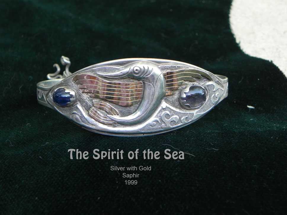 unikatschmuck armband silber gold fisch meer safir
