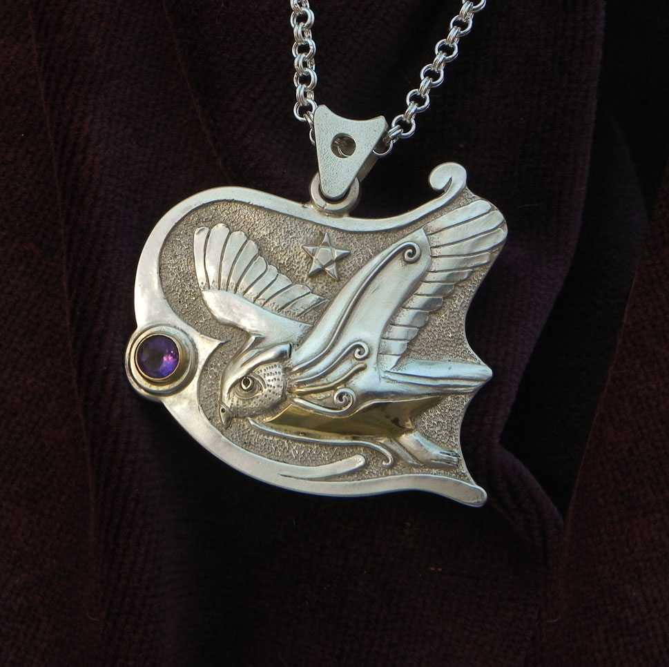 Flying Owl on Silver pendant