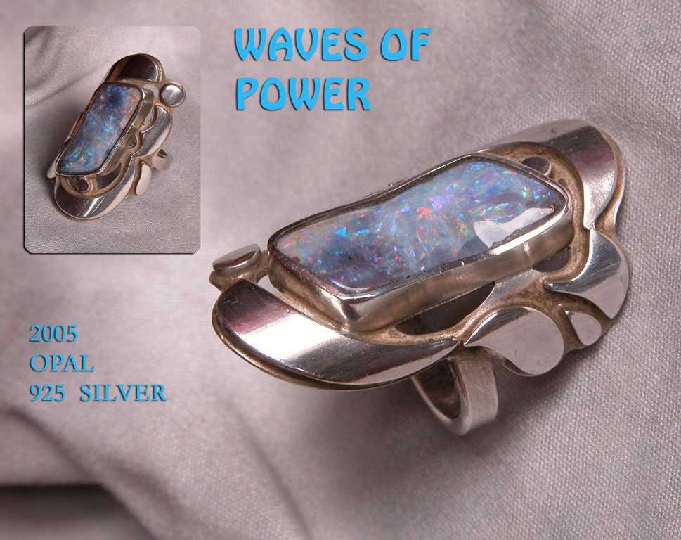 unikatring silber opal