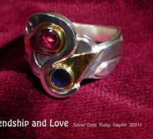 unikatring silber gold rubin saphir designerring