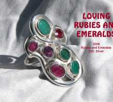 one of a kind ring silver emeralds ruby
