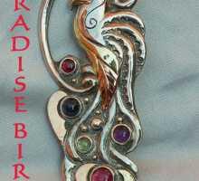 Brosche Paradiesvogel