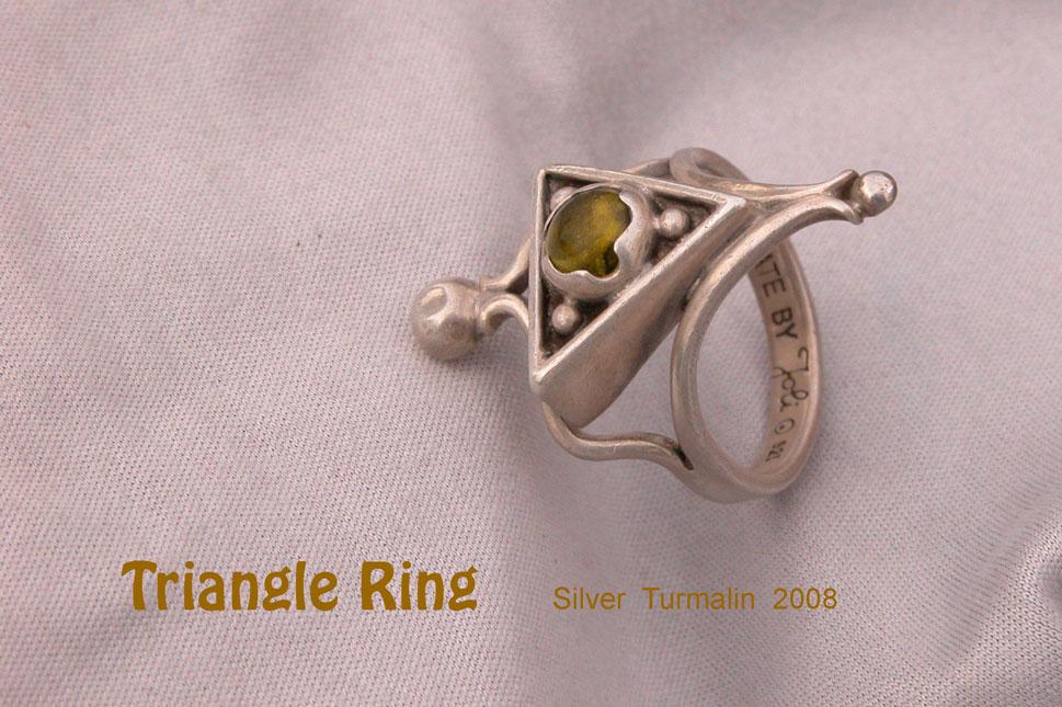 unikatring silber gold dreieck turmalin designerring