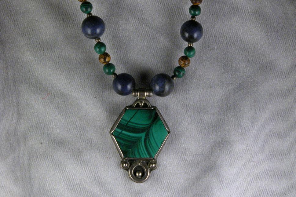 unikatschmuck designerschmuck edelsteinkette malachit silber