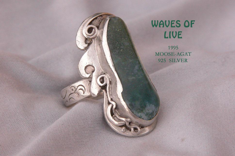 unikatschmuck silber ring Moosachat
